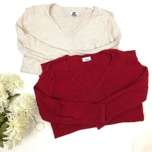 Old Navy Tunic Sweaters Value Bundle Cream Red S M